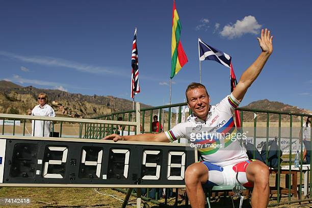 Chris Hoy of Great Britain celebrates breaking the World 500 Metre Altitude Record at the Alto Irpavi Velodrome, May 13, 2007 in La Paz, Bolivia.