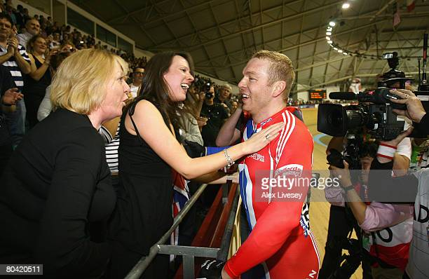 Chris Hoy of Great Britain celebrates victory in the Men's Sprint final with his wife Carol during the UCI Track Cycling World Championships at the...