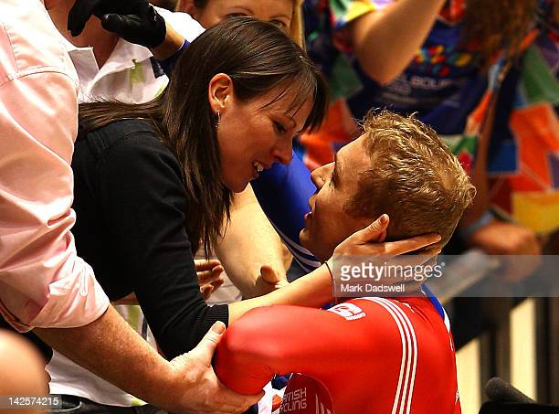 Chris Hoy of Great Britain celebrates with his wife Sarra Hoy after winning the Men's Keirin final during day five of the 2012 UCI Track Cycling...