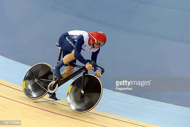 Chris Hoy of Great Britain competes in the Men's Team Sprint Track Cycling Qualifying on Day 6 of the London 2012 Olympic Games at Velodrome on...