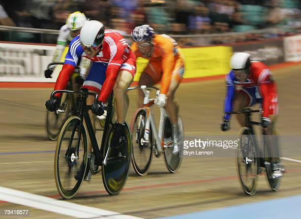 Chris Hoy of Great Britain crosses the line to win the Men's International Keirin during the UCI Track Cycling World Cup Classic at the Manchester...