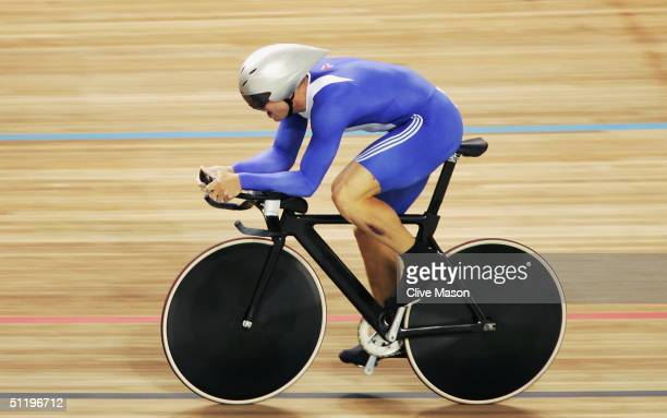 Chris Hoy of Great Britain in action on his final lap before setting a new Olympic record and winning the gold medal in the men's track cycling 1...