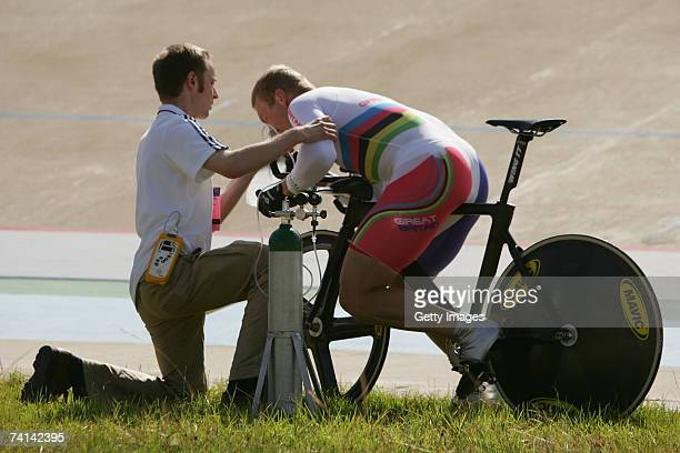 Chris Hoy of Great Britain is administered oxygen by Doctor Kenneth Baillie after failing in his attempt to break the World 1 Kilometre Altitude...