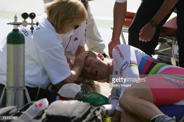 Chris Hoy of Great Britain is comforted by his mother Carol Hoy after failing in his attempt to break the World 1 Kilometre Altitude Record at the...