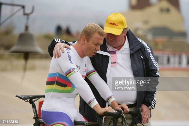 Chris Hoy of Great Britain is consoled by his father David Hoy after his failed attempt to break the World 1 Kilometre Altitude Record at the Alto...