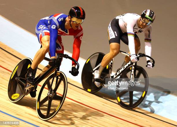 Chris Hoy of Great Britain narrowly defeats Maximilian Levy of Germany to win the Men's Keirin final during day five of the 2012 UCI Track Cycling...
