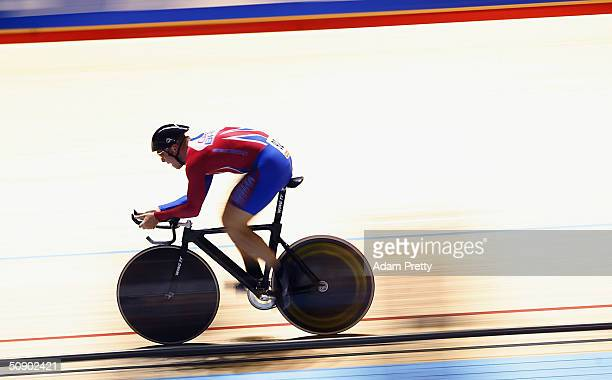 Chris Hoy of Great Britain on his way to victory in the mens 1km time trial during day two of the UCI Track Cycling World Championships at the...