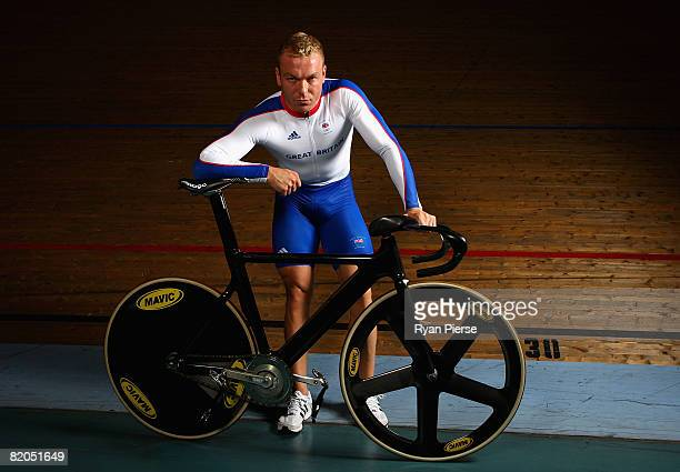 Chris Hoy of Great Britain poses during the Team GB Cycling PreOlympic Media Day at Newport Velodrome on July 24 2008 in Newport Wales
