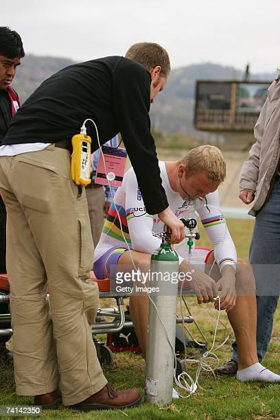Chris Hoy of Great Britain takes on oxygen assisted by Doctor Kenneth Baillie after his failed attempt to break the World 1 Kilometre Altitude Record...