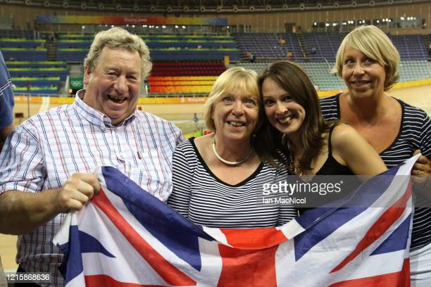 Chris Hoy's family father David Mother Carol girlfriend Sarra Kemp and sister Carrie are seen after he wins Gold in the Team sprint during The...