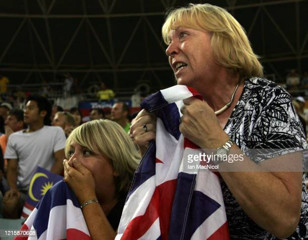 Chris Hoy's mother Carol Hoy celebrates after he wins gold in the Keirin Final held at the Laoshan Velodrome during Day 9 of the 2008 Beijing Summer...