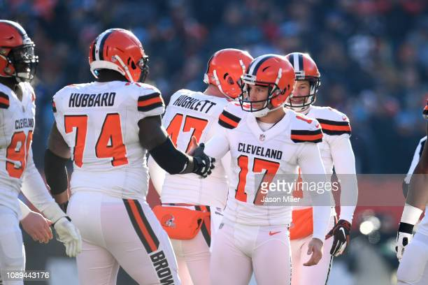 Chris Hubbard of the Cleveland Browns and Greg Joseph celebrate after a play during the game against the Carolina Panthers at FirstEnergy Stadium on...