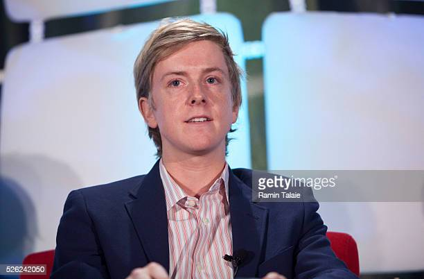 Chris Hughes an original founder of Facebook and Executive Director of Jumo speaks during the TechCrunch Disrupt conference in New York on Wednesday...