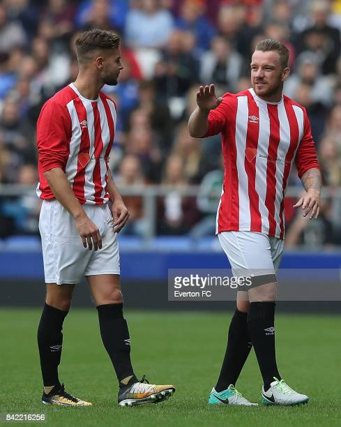 Chris Hughes and Jamie O'Hara of The Lowery Legends in action during the Bradley Lowery Charity Game at Goodison Park on September 3 2017 in...