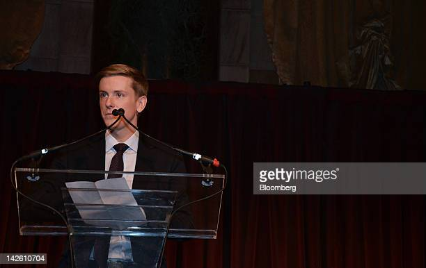 Chris Hughes editorinchief and publisher of The New Republic and a founder of Facebook Inc speaks during the Paris Review Spring Revel gala in New...
