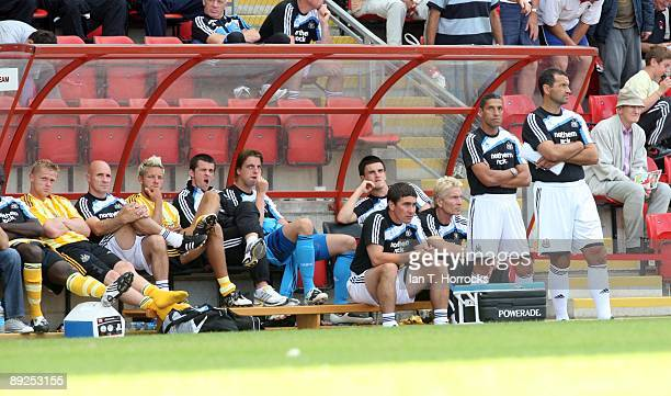 Chris Hughton and Colin Calderwood during a pre-season friendly match between Leyton Orient and Newcastle United at the Matchroom Stadium on July 25,...