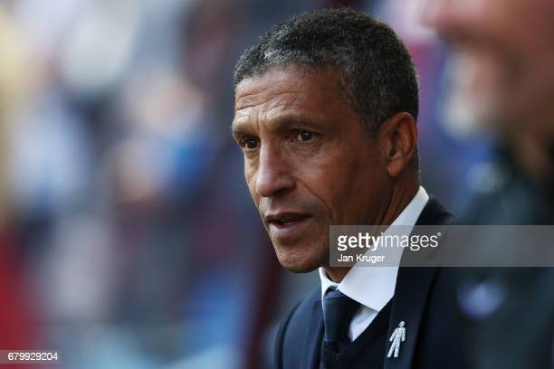 Chris Hughton mamnager of Brighton and Hove Albion looks on prior to the Sky Bet Championship match between Aston Villa and Brighton Hove Albion at...