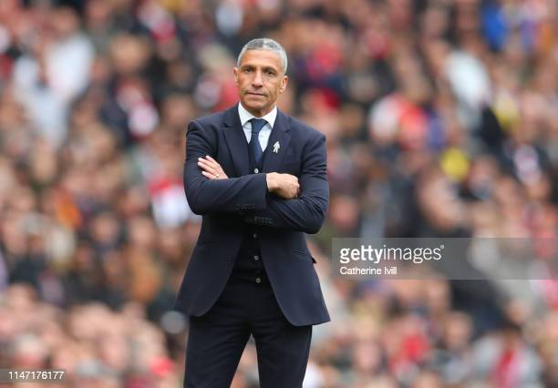 Chris Hughton Manager of Brighton and Hove Albion during the Premier League match between Arsenal FC and Brighton Hove Albion at Emirates Stadium on...