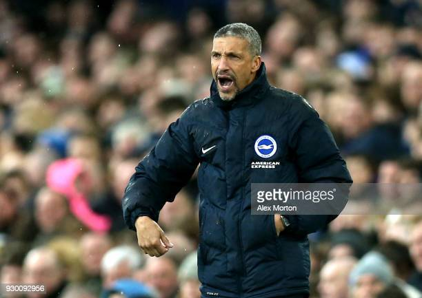 Chris Hughton Manager of Brighton and Hove Albion gives his team instructions during the Premier League match between Everton and Brighton and Hove...
