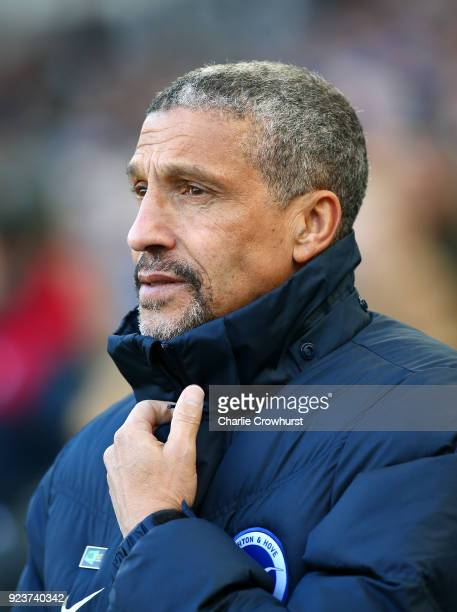 Chris Hughton Manager of Brighton and Hove Albion looks on ahead of the Premier League match between Brighton and Hove Albion and Swansea City at...