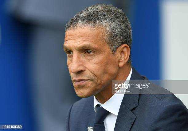 Chris Hughton Manager of Brighton and Hove Albion looks on during the Premier League match between Brighton Hove Albion and Manchester United at...