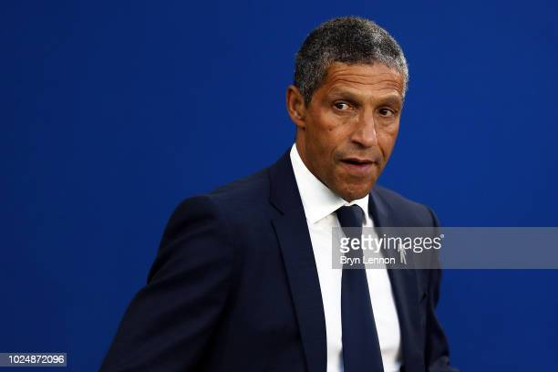 Chris Hughton Manager of Brighton and Hove Albion looks on prior to the Carabao Cup Second Round match between Brighton Hove Albion and Southampton...