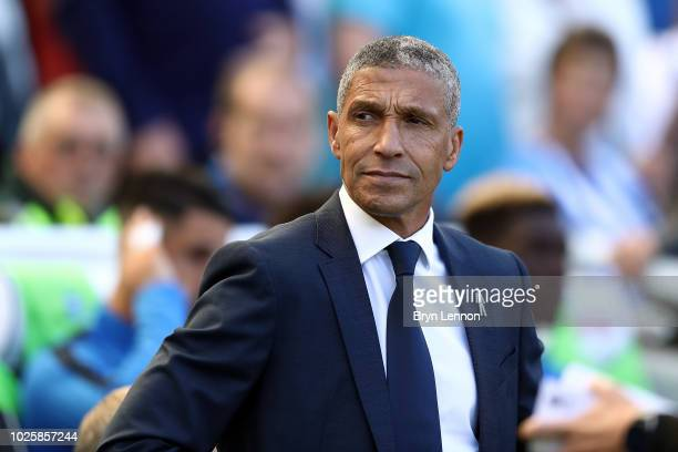 Chris Hughton Manager of Brighton and Hove Albion looks on prior to the Premier League match between Brighton Hove Albion and Fulham FC at American...