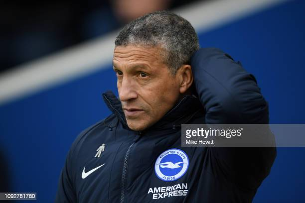 Chris Hughton Manager of Brighton and Hove Albion looks on prior to the Premier League match between Brighton Hove Albion and Watford FC at American...