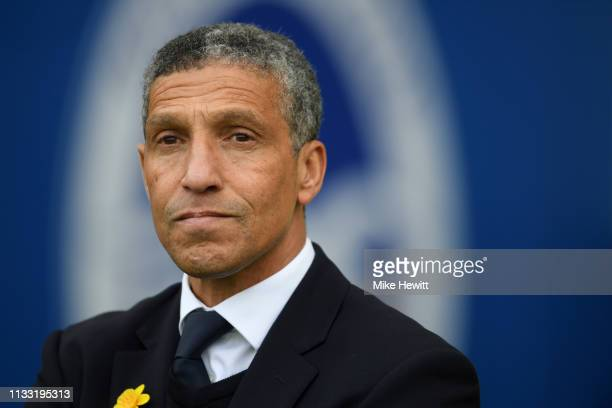Chris Hughton Manager of Brighton and Hove Albion looks on prior to the Premier League match between Brighton Hove Albion and Huddersfield Town at...