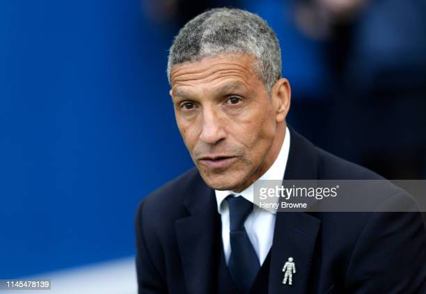 Chris Hughton Manager of Brighton and Hove Albion looks on prior to the Premier League match between Brighton Hove Albion and Newcastle United at...