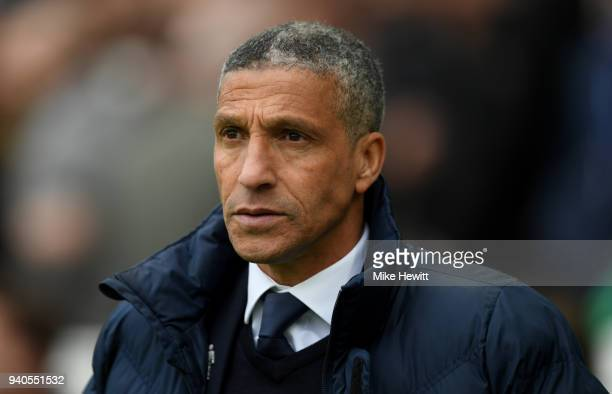 Chris Hughton Manager of Brighton and Hove Albion looks on prior to during the Premier League match between Brighton and Hove Albion and Leicester...
