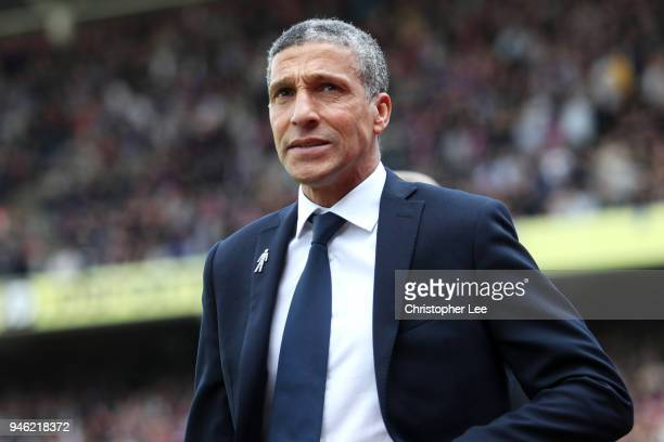 Chris Hughton Manager of Brighton and Hove Albion looks on prior to the Premier League match between Crystal Palace and Brighton and Hove Albion at...