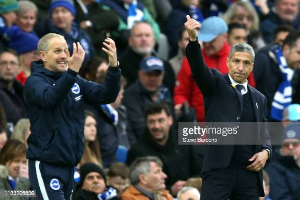 Chris Hughton Manager of Brighton and Hove Albion reacts during the Premier League match between Brighton Hove Albion and Huddersfield Town at...