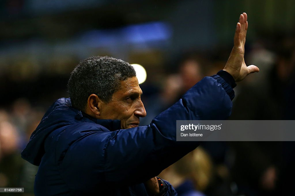 Chris Hughton, manager of Brighton and Hove Albion waves to the fans before the Sky Bet Championship match between Brighton and Hove Albion and Sheffield Wednesday at Amex Stadium on March 8, 2016 in Brighton, United Kingdom.
