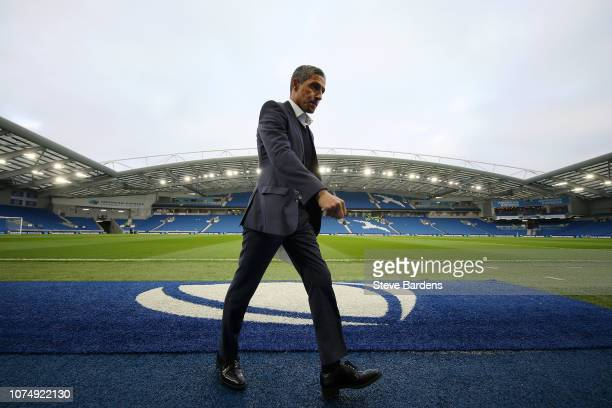 Chris Hughton Manager of Brighton Hove Albion looks on prior to the Premier League match between Brighton Hove Albion and Arsenal FC at American...