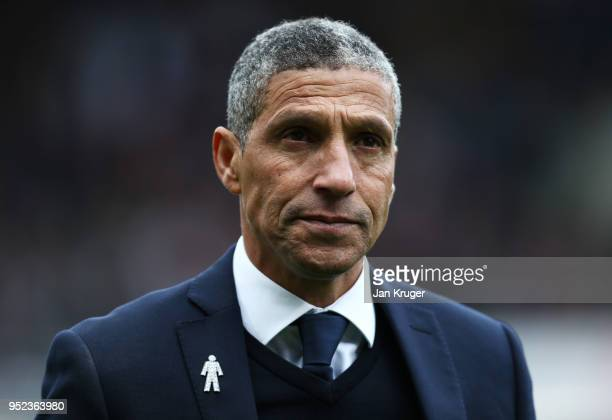 Chris Hughton Manager of Brighton looks on prior to the Premier League match between Burnley and Brighton and Hove Albion at Turf Moor on April 28...