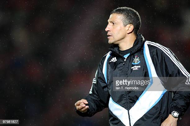 Chris Hughton manager of Newcastle looks on during the Coca Cola Championship match between Doncaster Rovers and Newcastle United at The Keepmoat...