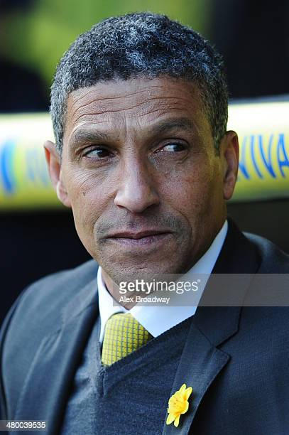 Chris Hughton, manager of Norwich City, looks on prior to the Barclays Premier League match between Norwich City and Sunderland at Carrow Road on...