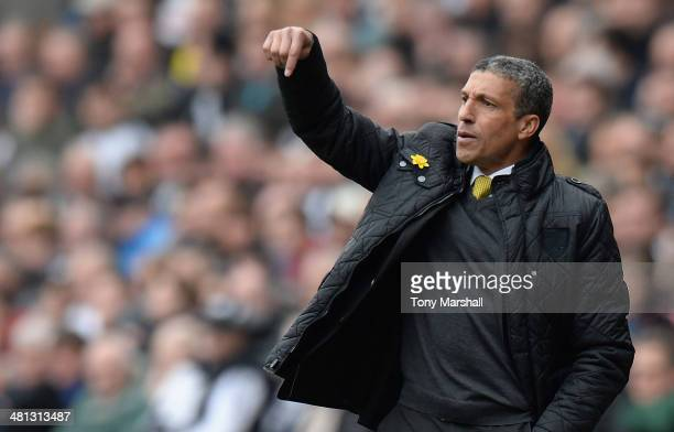 Chris Hughton Manager of Norwich City points down from the touchline during the Barclays Premier League match between Swansea City and Norwich City...