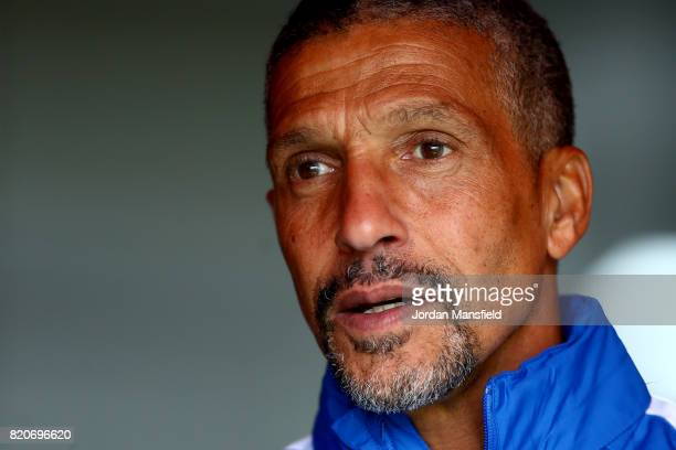 Chris Hughton of Brighton looks on ahead of the Pre Season Friendly match between Crawley Town and Brighton Hove Albion at Broadfield Stadium on July...