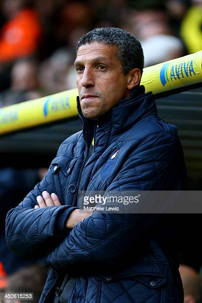 Chris Hughton the Norwich manager looks on during the Barclays Premier league match between Norwich City and Crystal Palace at Carrow Road on...