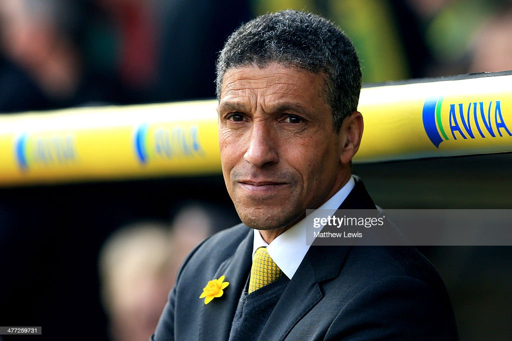 Chris Hughton the Norwich manager looks on during the Barclays Premier League match between Norwich and Stoke at Carrow Road on March 8, 2014 in Norwich, England.