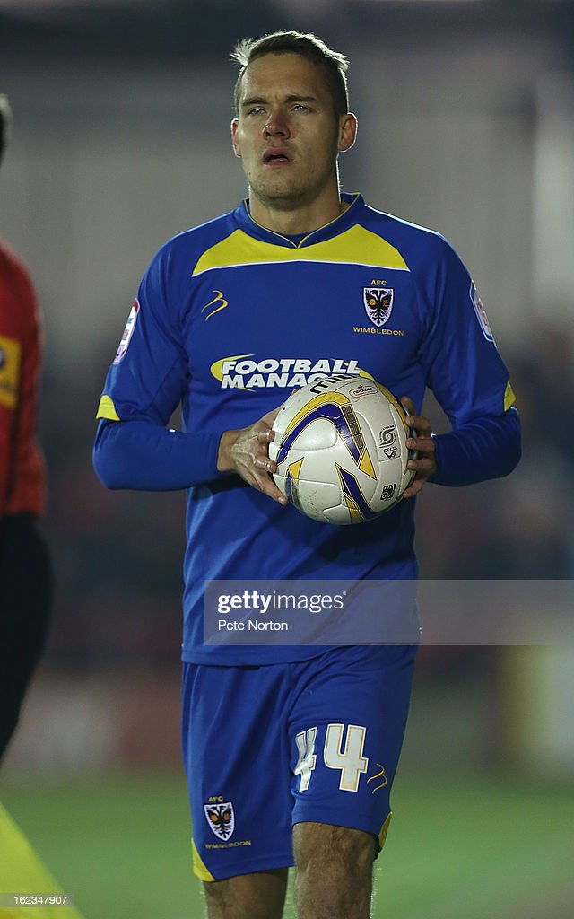 Chris Hussey of AFC Wimbledon in action during the npower League Two match between AFC Wimbledon and Northampton Town at The Cherry Red Records Stadium on February 19, 2013 in Kingston upon Thames, England.