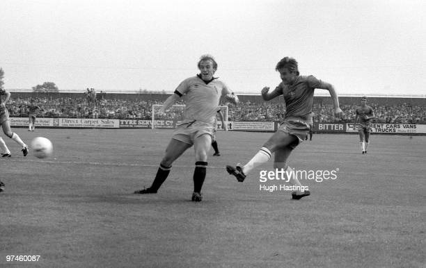 Chris Hutchings of Chelsea shoots at goal during the Football League Division Two match between Cambridge United and Chelsea held on August 28 1982...
