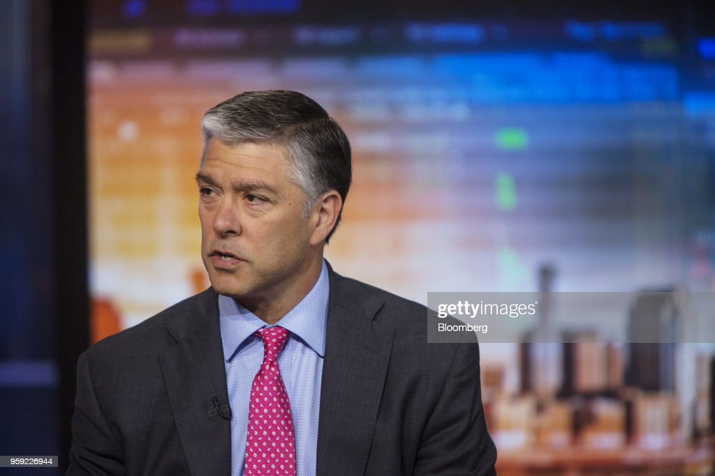 Chris Hyzy, global wealth chief investment officer of the Bank of America Corp., speaks during a Bloomberg Television interview in New York, U.S., on Wednesday, May 16, 2018. Hyzy discussed GDP growth and treasuries. Photographer: Victor J. Blue/Bloomberg via Getty Images