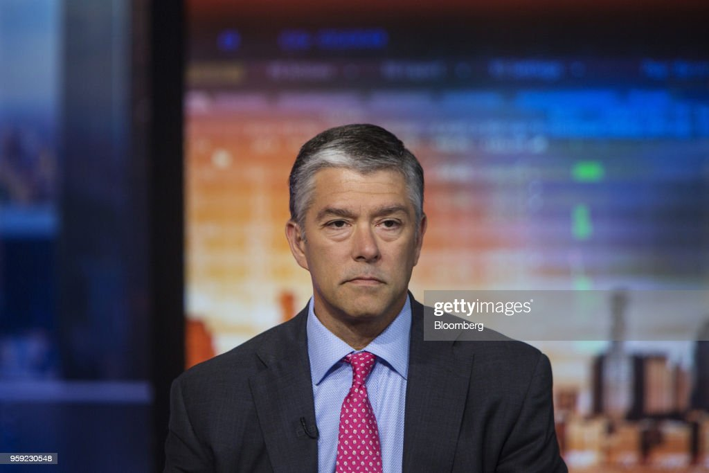 Chris Hyzy, global wealth chief investment officer of the Bank of America Corp., listens during a Bloomberg Television interview in New York, U.S., on Wednesday, May 16, 2018. Hyzy discussed GDP growth and treasuries. Photographer: Victor J. Blue/Bloomberg via Getty Images