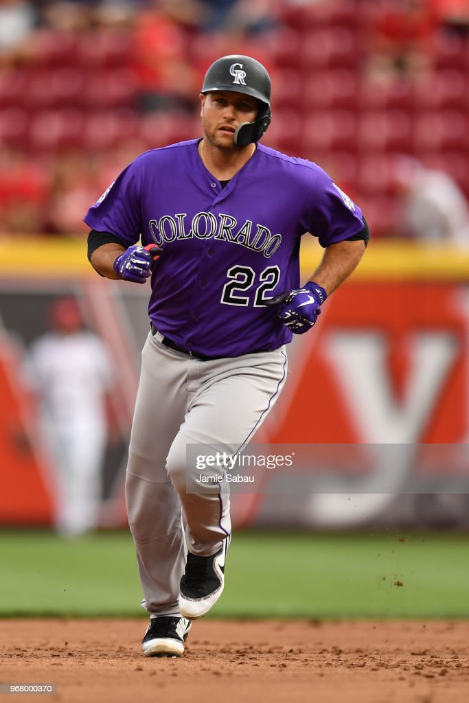 Chris Iannetta #22 of the Colorado Rockies rounds the bases after hitting a two-run home run in the second inning against the Cincinnati Reds at Great American Ball Park on June 5, 2018 in Cincinnati, Ohio.