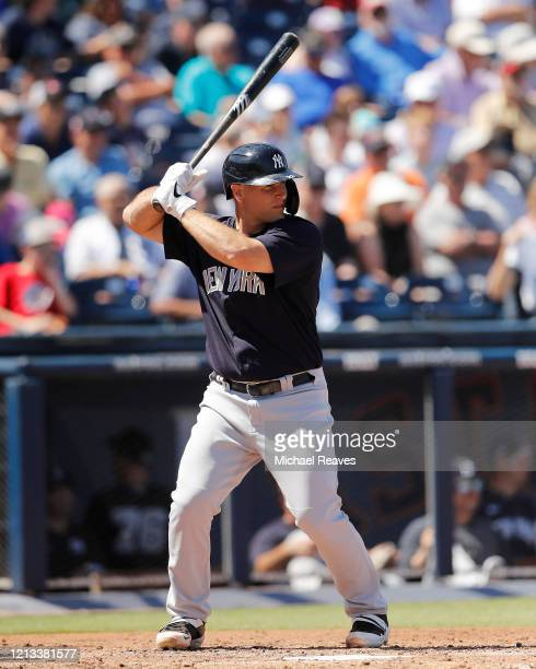 Chris Iannetta of the New York Yankees at bat against the Washington Nationals during a Grapefruit League spring training game at FITTEAM Ballpark of...