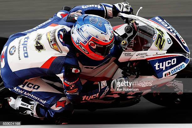 Chris Iddon of Tyco BMW team rides during practice for the British Superbike Championship at Brands Hatch on May 20 2016 in Longfield England