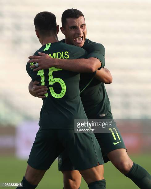 Chris Ikonomidis and Andrew Nabbout of Australia celebrates their second goal during the International Friendly match between Australia and Oman at...